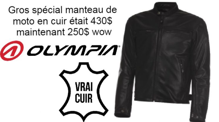 Spécial manteau de moto en cuir véritable Olympia