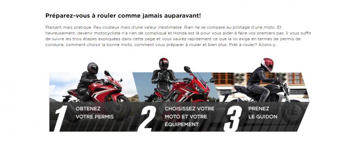Honda nouveau motocycliste